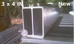 Picture of Aluminum Rectangle Tubing, 3in x 4in x 4 ft, 8 ft, NEW!, Trailer Tongue, Double Wall