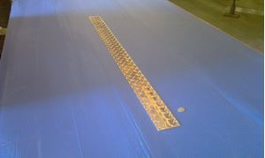 Picture of Aluminum Diamond Plate Flat 3 x 48 in, 1/16 in thick,. 4 ft,  New, .062 In,  Hash Plate, Tread Plate, Tread Bright