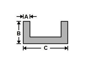 Picture of Aluminum Architectural Channel 4 x 1 x .105/.080 x 48 in