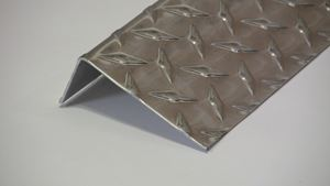 Picture of Aluminum Diamond Plate Angle Offset 1.5 x 3.5 x 48 in, 1/16 in thick,. 4 ft,  New, .062 In,  Hash Plate, Tread Plate, Tread Bright
